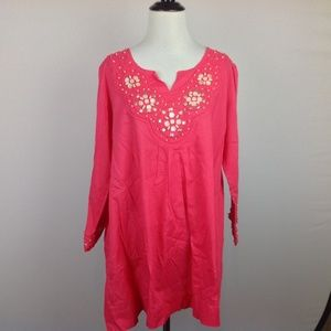 Boden Peasant Boho Top Womens 18 Beaded Pink